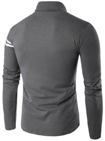 Chic Roll Neck Varsity Stripe Long Sleeve T-Shirt - 5XL GRAY Mobile