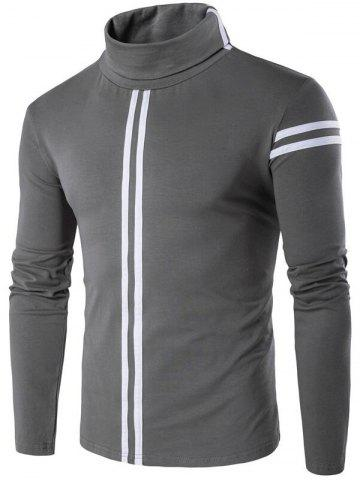 Best Roll Neck Varsity Stripe Long Sleeve T-Shirt - L GRAY Mobile