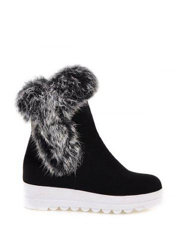 Cheap Platform Furry Short Boots BLACK 37