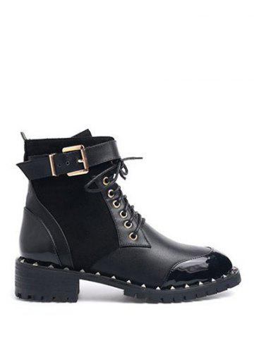 Fashion Rivets Tie Up Splicing Ankle Boots BLACK 39