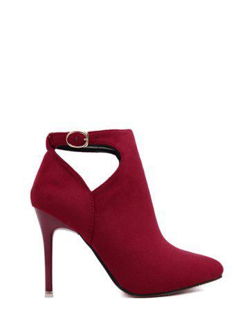 Online Suede Stiletto Heel Cut Out Ankle Boots - 39 RED Mobile