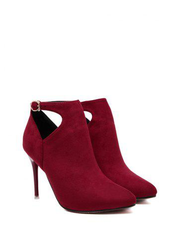 Hot Suede Stiletto Heel Cut Out Ankle Boots - 39 RED Mobile