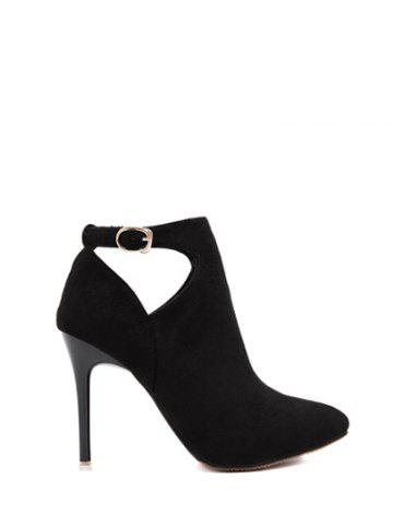 Fashion Suede Stiletto Heel Cut Out Ankle Boots - 37 BLACK Mobile