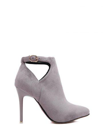 Online Suede Stiletto Heel Cut Out Ankle Boots - 37 LIGHT GRAY Mobile