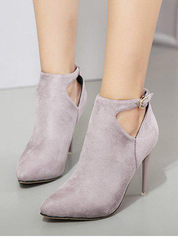 Discount Suede Stiletto Heel Cut Out Ankle Boots - 37 LIGHT GRAY Mobile