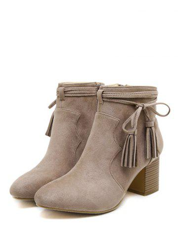Discount Chunky Heel Tassels Zipper Ankle Boots - 39 CAMEL Mobile