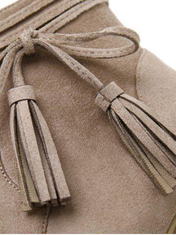 Outfits Chunky Heel Tassels Zipper Ankle Boots - 39 CAMEL Mobile