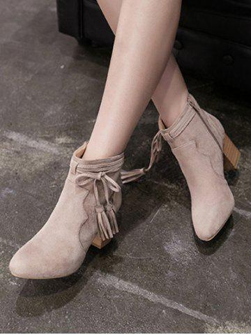 Chic Chunky Heel Tassels Zipper Ankle Boots - 39 CAMEL Mobile