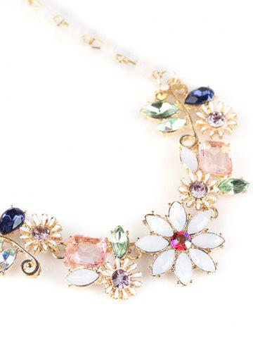 Cheap Faux Crystal Flower Necklace - GOLDEN  Mobile