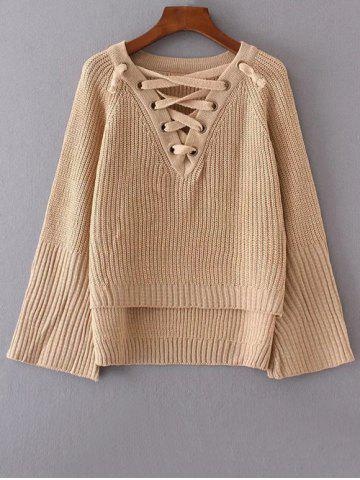Chic V Neck High Low Lace Up Sweater