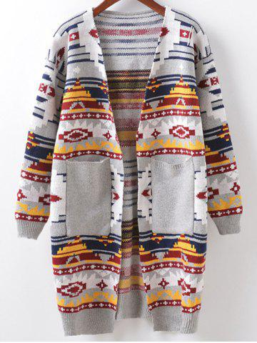 Discount Buttonless Argyle Cocoon Cardigan