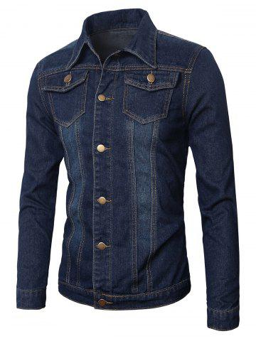 Buy Pockets Embellished Turn-Down Collar Denim Jecket BLUE 3XL