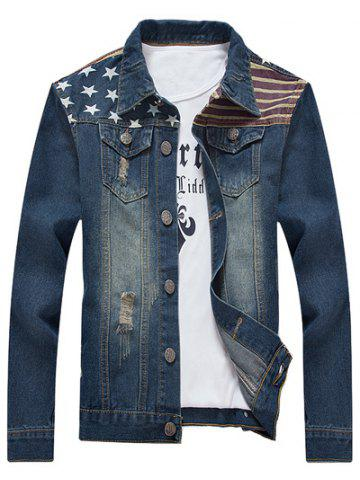 Chic Star Stripe Print Distressed Jean Jacket - 5XL BLUE Mobile