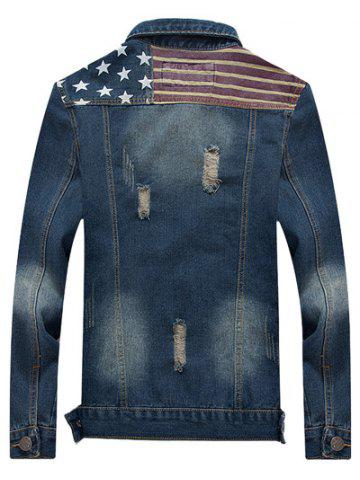 Chic Star Stripe Print Distressed Jean Jacket - M BLUE Mobile
