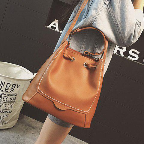Chic Stitching Drawstring PU Leather Shoulder Bag