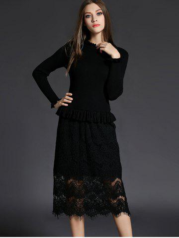 Ruffled Neck Lace Spliced Sheath Long Jumper Dress - Black - M