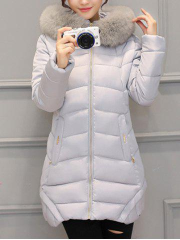 Hot Asymmetrical Hooded Padded Coat GRAY XL