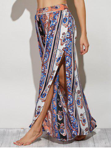 Shop Bohemian Paisley Pattern High Slit Maxi Skirt