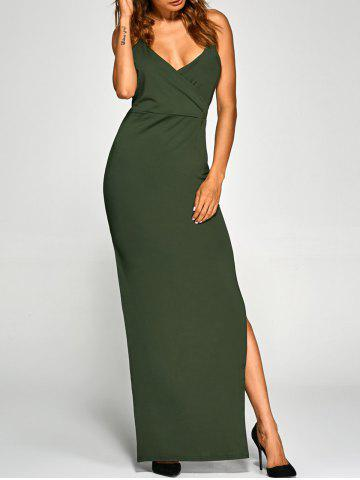 New Backless High Split Surplice Maxi Club Dress ARMY GREEN XL