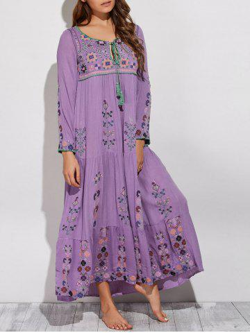 Online Bohemian Scoop Neck Embroidered Swing Maxi Dress