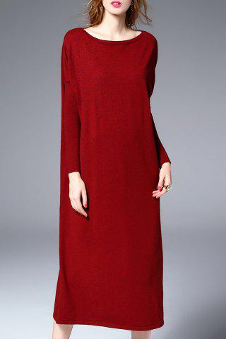 Outfits Midi Sweater Dress With Batwing Sleeve DEEP RED XL