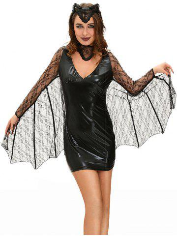 Bat Cosplay Suit Long Sleeve Faux Leather Dress Halloween Costume - Black - S