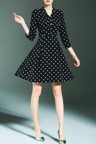 Online V Neck Polka Dot Print A Line Dress - S BLACK Mobile
