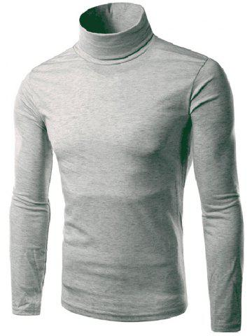 Laconic Slimming Candy Color Long Sleeves Men's Turtleneck Knitted T-Shirt - LIGHT GRAY - M