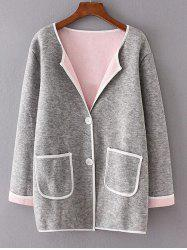 Twin Pockets Patchwork Sweater Coat -