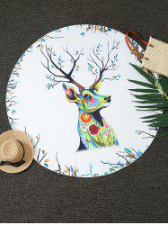 Christmas Reindeer Print Round Blanket Throw - WHITE
