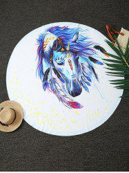 Dreamlike Horse Print Round Blanket Throw - WHITE