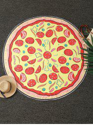 Pizza Print Round Blanket Throw - YELLOW