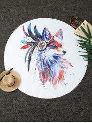 Creative Fox Print Round Blanket Throw