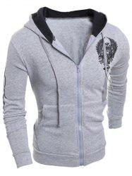 Imprimé à manches longues Graphic Drawstring Zip Up Hoodie -