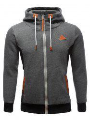PU-Leather Splicing Color Block Hoodie - GRAY