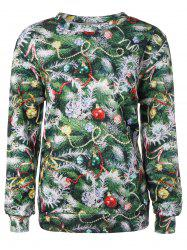 Christmas Tree 3D Print Pullover Sweatshirt - GREEN ONE SIZE