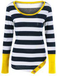 Button Embellished Asymmetric Long Sleeve Striped T-Shirt -