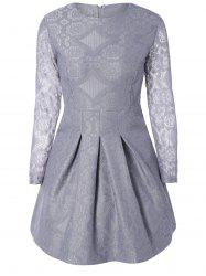 Embroidered Long Sleeve Lace A-Line Dress - LIGHT GRAY L