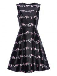 Plum Print Vintage Fit and Flare Dress -