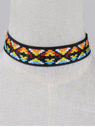 Geometric Embroidery Wide Choker