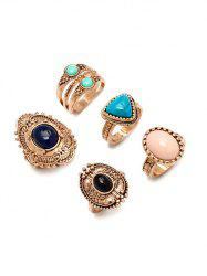 Alloy Faux Gem Ring Set - GOLDEN