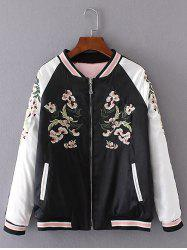 Embroidered Insider Wear Padded Baseball Jacket - BLACK