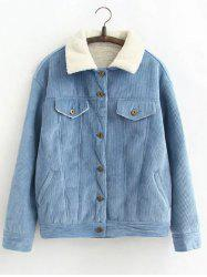 Vintage Sherpa Fleece Corduroy Jacket - LIGHT BLUE