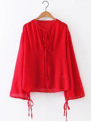Long Sleeve Chiffon Tie Front  Blouse -
