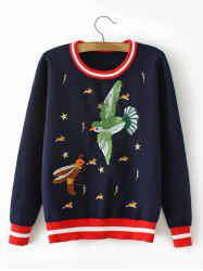 Bird Embroidered Stripe  Sweater