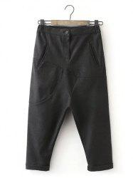 Loose Woolen Cropped Harem Pants