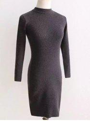 Long Sleeve Fit Knitted Pencil Dress -