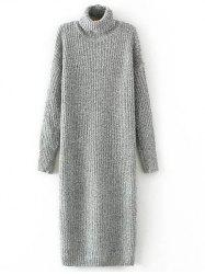 Roll Neck Long Jumper Dress with Sleeves