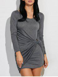 Long Sleeve Asymmetric Bodycon Bandage Draped Dress - GRAY