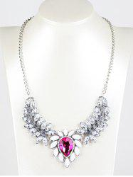 Faux Crystal Wings Pendant Necklace - RED